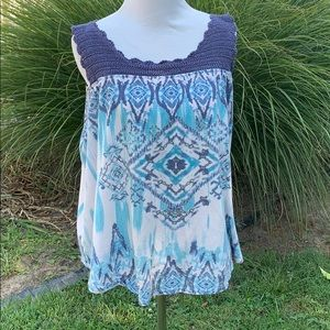 Absolutely Famous boho tie dye Aztec crochet tank